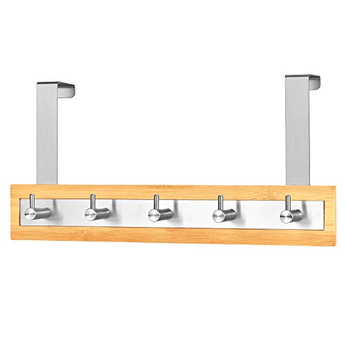 ToiletTree Products Bamboo Wood & Stainless Steel Over The Door Towel Rack, 5 Hooks