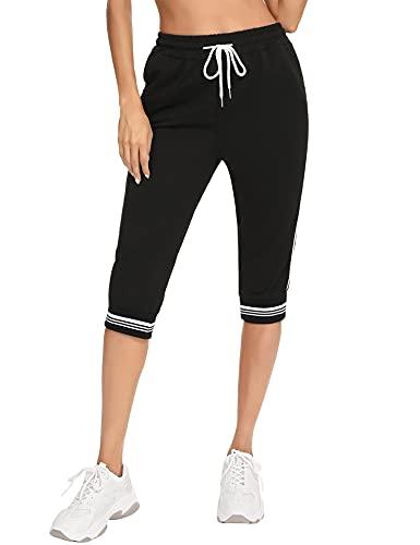 Irevial 3/4 Pantalones Deporte Mujer Capri Pantalón Deporte Casual Pantalones Chándal con Cordón Ajustable y Bolsillos Verano para Yoga Fitness Correr Negro, S