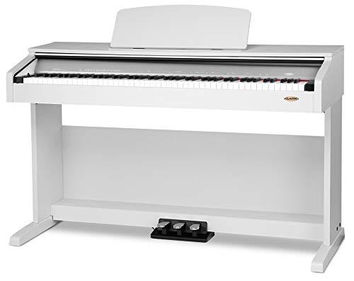 Classic Cantabile DP-210 WM E-Piano (Digitalpiano mit Hammermechanik, 88 Tasten, 2 Anschlüsse für Kopfhörer, USB, Metronom, 3 Pedale, Piano für Anfänger) weiß matt