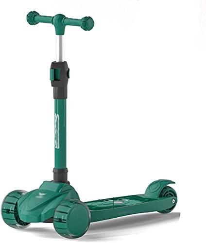 RSTJ Scooter para niños Altura Ajustable Plegable Magro para dirigir para niños niños y niñas de 3 a 10 años (Color : Green)