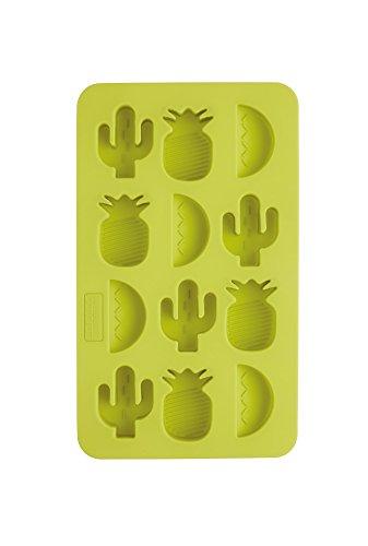 Kitchen Craft BarCraft Tropical Chic Neuheit Eiswürfelschale, Silikon, Grün, 13 x 22 x 2 cm