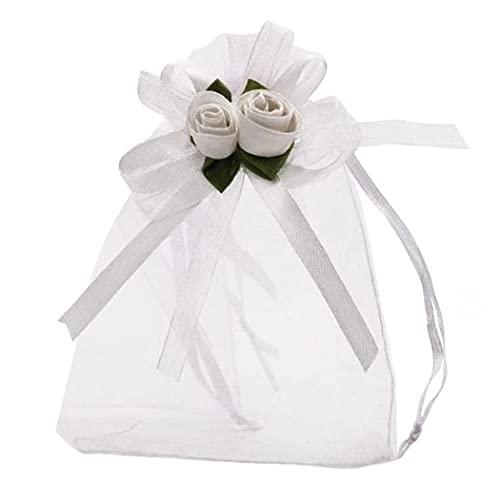 Rose Organza Sac Cadeau Sac De Mariage Sacs-cadeaux Sacs-cadeaux Bijoux Pochettes avec cordon à cordon de mariage Noël Noël 50pcs, Home Essentials