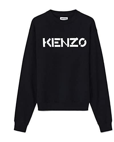 Sudadera Kenzo para hombre, color negro, logotipo blanco, 100% algodón (corte normal, talla pequeña)