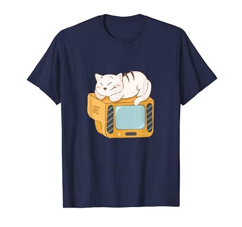 Impresión de gato dormido en la televisión Camiseta
