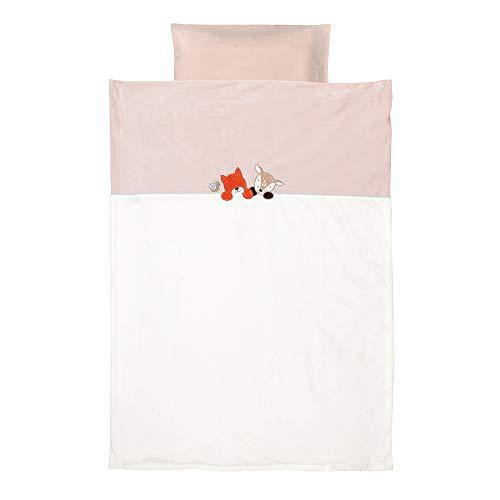 Nattou Bettwäsche-Set mit Wendemotiv, Bettdeckenbezug 100 x 140cm und Kissenbezug 40 x 60cm, Fanny und Oscar, Weiß/Beige
