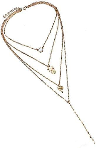 Yaoliangliang Collar Llamativo, Colgante De piña Multicapa, Colgante, Collar con dijes para Mujer, joyería, gargantillas De Moda