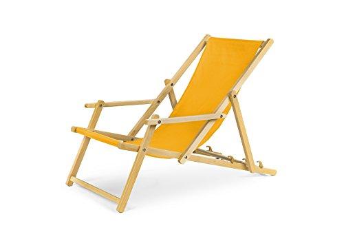 IMPWOOD Gartenliege aus Holz Liegestuhl Relaxliege Strandliege mit mit Armauflagen (Gelb)