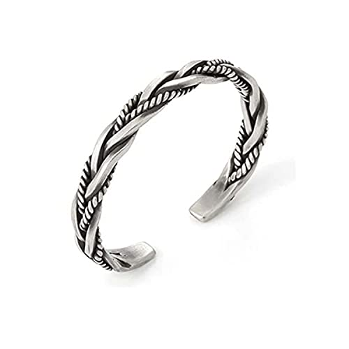 2021 NEW Handmade Twist Weave Bracelet - Vintage Thai Silver Open Bracelet, Adjustable Bangle Bracelet S925 Silver Cuff Bracelets (1pcs)
