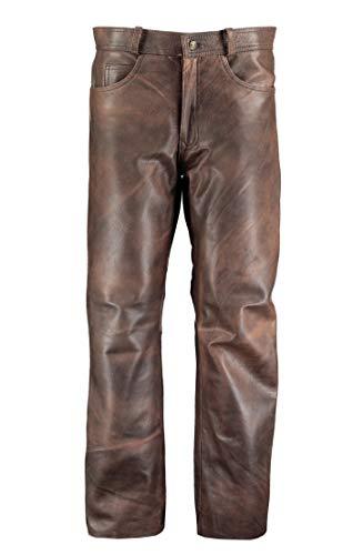 MyLeather Hombres clásico marrón de piel pantalones pantalones–de pantalones–pantalones de cuero de piel hombre Marrón marrón 46
