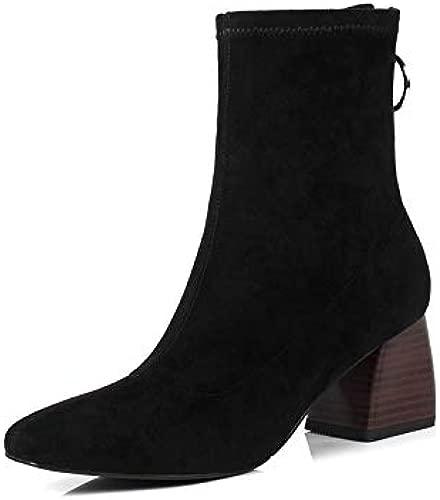Shukun Stiefeletten Hochhackige Stretch-Stiefel Pu Velvet Socken dick mit Martin Stiefel Square Head Kurze Stiefel weibliche dünne Stiefel