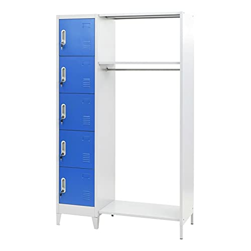 Office File Cabinet Locker Locking Large Storage Office Cabinet Metal Cabinets Home School with Coat Rack Blue and Gray by paritariny