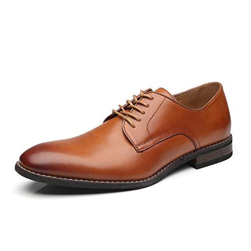 La Milano Men Dress Shoes Lace-up Leather Oxford Classic Modern Formal Business Comfortable Dress Shoes for Men, Cabey-2-cognac, 12