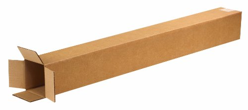 Aviditi 4436 Tall Corrugated Cardboard Box 4' L x 4' W x 36' H, Kraft, for Shipping, Packing and Moving (Pack of 25)