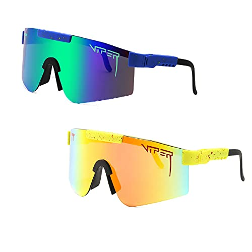2 Pack Pit Viper Sunglasses, Outdoor Windproof Sports Eyewear UV400 Polarized Sunglasses for Women and Men Blue