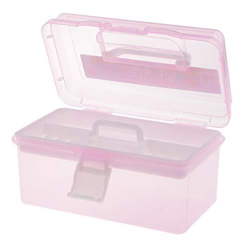 Baoblaze Caja de almacenamiento de plástico duro transparente de 2 capas Organizador de costura Caja de almacenamiento de pintura - Rosa