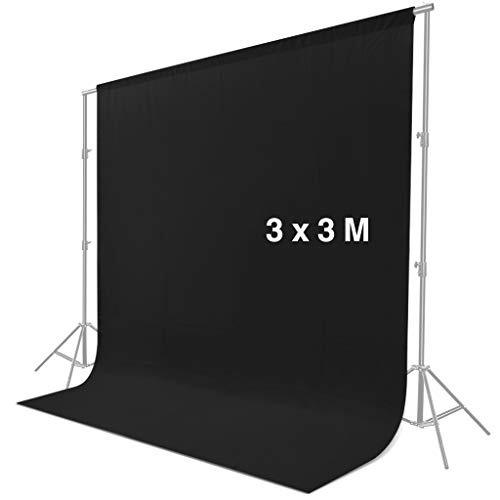 CRAPHY 3 m x 3 m Pantalla de Fondo Negro, Fondo Chroma Key Telón de Fondo Negro para Estudio Fotografía de Foto y Video (Sin Soporte)
