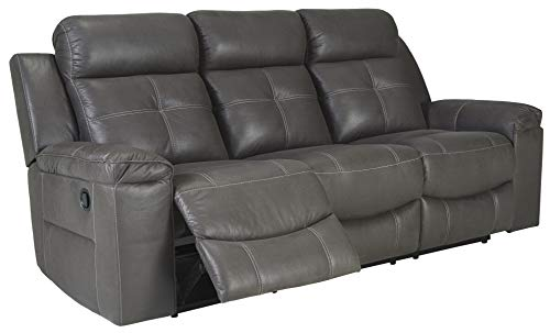 Signature Design by Ashley - Jesolo Casual Faux Leather Reclining Sofa - Pull Tab Reclining, Dark Gray