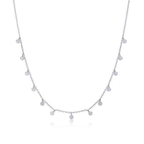 WANDA PLATA Plättchen Halskette für Junge Mädchen, Damen, Echt 925 Sterling Silber, Halsband Kette Kreise Coins Münzen Minimal Choker, Schmuck Plättchen. Modeschmuck. Präsentiert in Geschenkbox.