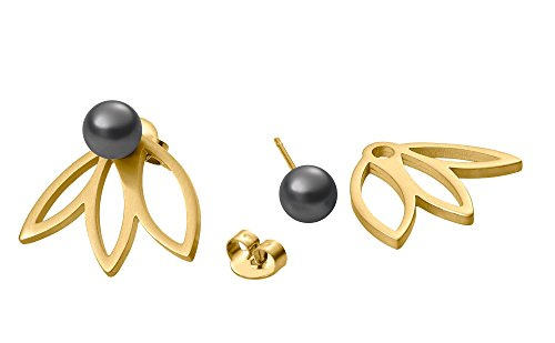 Heideman Ohrringe Damen Flora 3 aus Edelstahl gold farbend matt Ohrstecker für Frauen 2 in 1 Doppelstecker mit Swarovski Perle grau rund 6mm