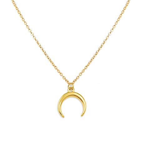 SHINE & WANDER Tiny Moon Necklace | Damen Edelstahl Halskette mit Sichelmond Anhänger in Gold, Silber Roségold | verstellbar (Gold)