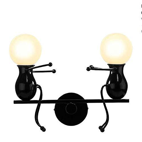 Qazse wandlamp, creatief, wandlamp, eenvoudige wandlamp, LED-kaars, E27, woonkamer, trappen, hal, restaurant, keuken, zwart