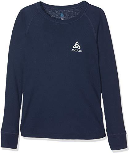 Odlo ML Warm T-Shirt Manches Longues enfants, Bleu (diving navy), FR : M (Taille Fabricant : 140)