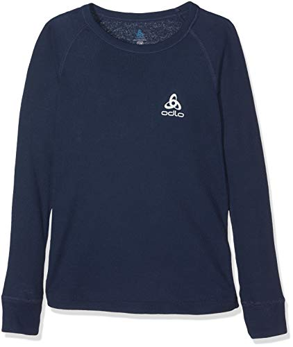 Odlo ML Warm T-Shirt Manches Longues enfants, Bleu (diving navy), FR : XL (Taille Fabricant : 164)