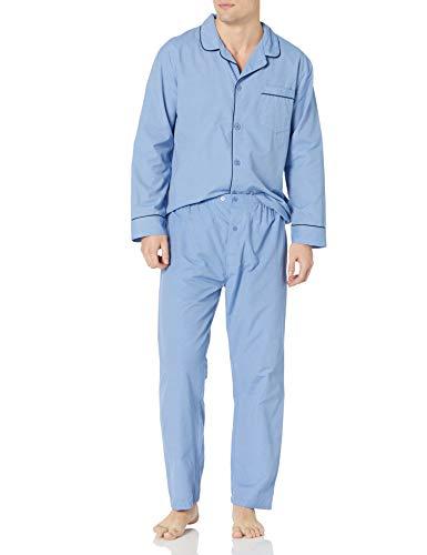 Hanes Men's Woven Plain-Weave Pajama Set, Medium Blue Solid, 3X