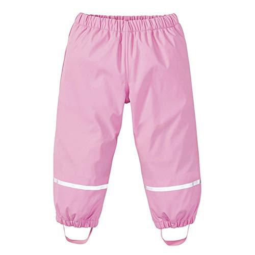 G-Kids Kinder Mädchen Jungen Regenhose Matschhose Wasserdicht Warm Baumwollefutter Buddelhose mit Reflektoren Rosa 110/116