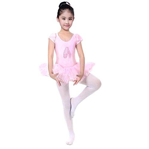 Lenfesh Ropa de Ballet para Niña, Ballet Zapatillas Imprimir Maillot de Ballet Danza Tutú para Niña con Braguita Disfraces de Danza Fiesta Carnaval (4 Años, Rosado #2)