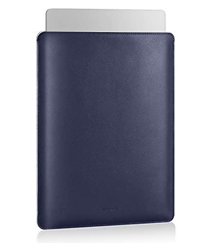MoKo 13.3 Pulgadas Funda Ordenador Portátil, Protectora de Cuero PU Bolsa Laptop Sleeve Compatible con MacBook Air M1 13.3 2020, MacBook Pro M1 13.3 2020, Azul Oscuro