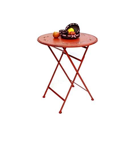 DanDiBo Tisch Bistrotisch Rot Rund Ø 65 cm Klapptisch Gartentisch Metall Passion Eisentisch Balkontisch