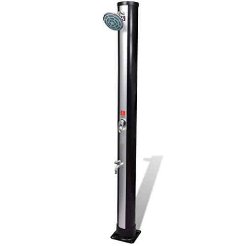 mewmewcat Gartendusche Solardusche Pooldusche aus UV-beständigem PVC mit Wassertank 35 Liter 16 x 16 x 196 cm