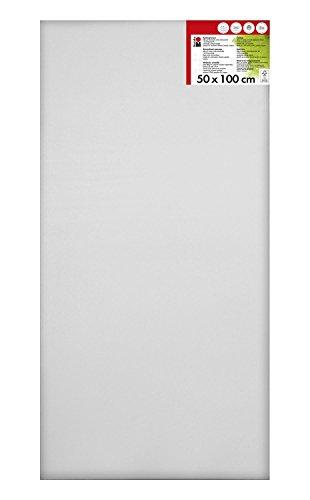 Marabu 1616000000503 - Keilrahmen, ca. 50 x 100 cm, Rahmentiefe ca. 1,8 cm, weiß, mit 380 g/qm Baumwolle bespannt, 3 fach grundiert, leicht saugend, für Acryl-, Öl-, Gouache- und Temperafarben