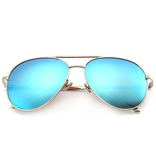 SUNGAIT Gran Tamaño Gafas de Sol Ligeras para Mujer con Lente Polarizada Espejada(Plateado/Azul)-SGT603