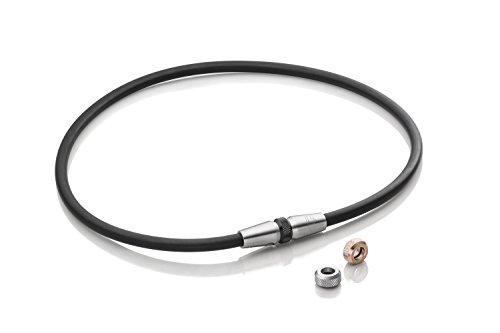 Lunavit Magnetschmuck Halskette Clic Mag 3.0 mit wechselbaren Charms in Rose, Silber und Schwarz für Damen und Herren, 1 Neodym Magnet mit 2000 Gauß, 46 – 55 cm