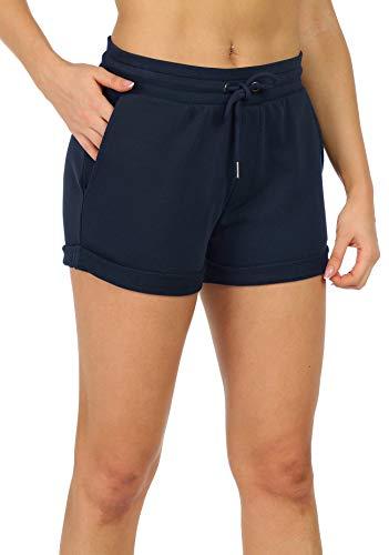 icyzone Damen Shorts Sport Yoga Kurze Hose Sweatpants Laufshorts Baumwolle (L, Navy)