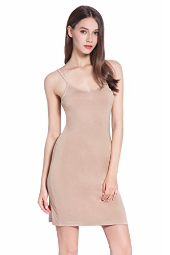 Women Long Spaghetti Strap Full Cami Slip Camisole Under Dress Liner,Small,Camel