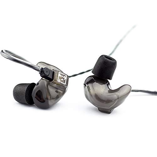 HÖRLUCHS® HL4410 In-Ear Kopfhörer, 4-Wege Treiber bassbetont, Smart Surface Universal Design mit 2-Pin-Wechselkabel, verschiedene Domes und Filter - Grau transparent