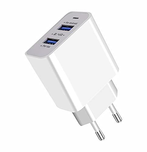 APOKIN Cargador Ultra Rapido Doble USB 2.4A USB 3.0 Adaptador de Carga Cargador Compatible Samsung iPhone iPad Huawei Xiaomi OPPO Realme LG TCL Vivo iPad (Sin Cable)