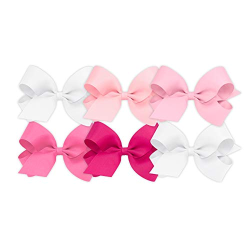 Wee Ones Girls' Large Bow 6 pc Set Solid Grosgrain Variety Pack on a WeeStay Clip - White, Light Pink, Pearl, Hot Pink, Shocking Pink