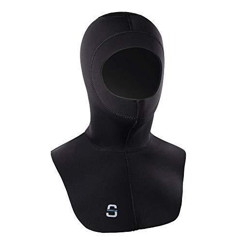 Sarhlio Neoprenanzug-Hauben 3 / 2MM Neopren-High-Stretch mit Durchflussentlüftung, um eingeschlossene Luftlatz-Tauchhaube zu entfernen.(XS
