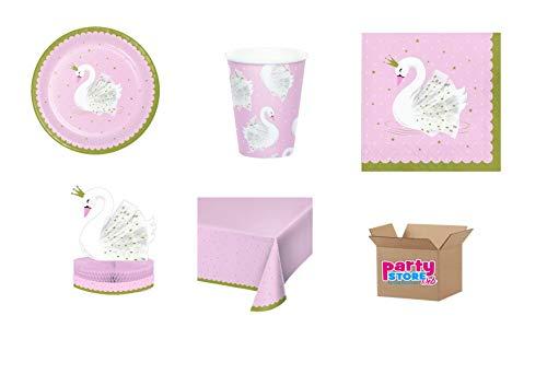 Party Store Web by Casa Sweet Home Kinder-Deko Schwan Tisch Party Schwan Nr. 10 CDC (40 Teller, 40 Becher, 48 Servietten, 1 Tischdecke)