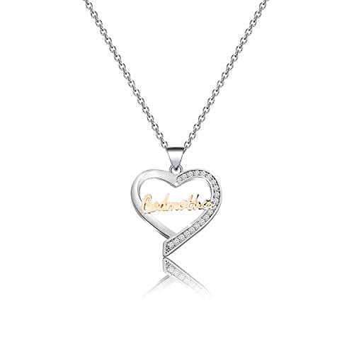 Godmother Gifts Necklace Heart Pendant Jewelry Godmother Necklace Godmother Religious Jewelry Gift from Godchild Christian Gifts (SILVER)