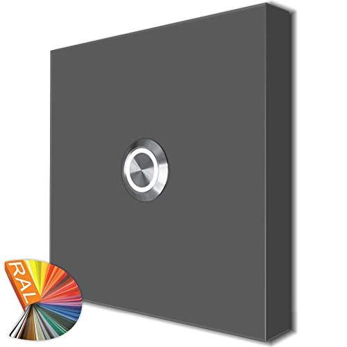 Türklingel Aufputz superflach Design 100x100mm in 5 Farbtönen Futura6 Klingelschild Klingelplatte