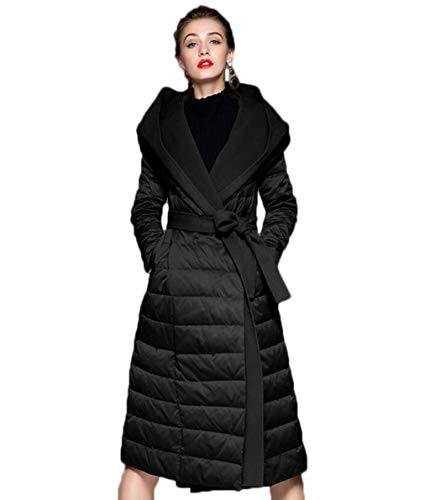 QKDSA Dames Winter Down Jacket Lange Dikke Down Coat Wollen Jas Hooded Trench Coat XS Zwart