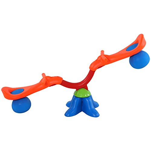 HOMCOM Kinder Gartenwippe 360° drehbare Wippe Karussellwippe für 3-8 Jahre Kunststoff Mehrfarbig 126 x 39,5 x 66 cm