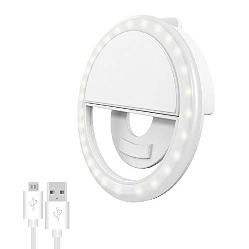 Selfie Ring Light for iPhone & Android, Rechargeable Portable Clip-on Selfie Light for Smart Phone Camera, Girls Makeup(White)