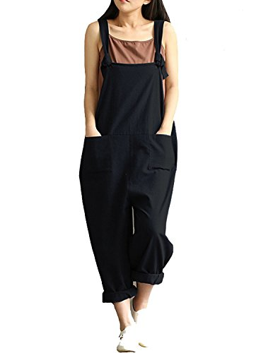 Women's Casual Jumpsuits Overalls Baggy Bib Pants Plus Size Wide Leg Rompers (XL, Black)