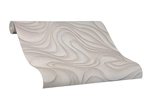 Tapete Braun Welle Geschwungen Linien Ovale Colani Evolution für Wohnzimmer Schlafzimmer oder Küche Made in Germany 10,05m X 0,70m Premium Vliestapete 56319